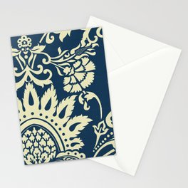 damask in white and blue vintage Stationery Cards
