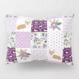 Corgi Patchwork Print - purple ,florals , floral, spring, girls feminine corgi dog Pillow Sham