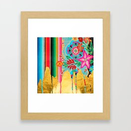 Gold Dipped Boho Serape Dream Framed Art Print