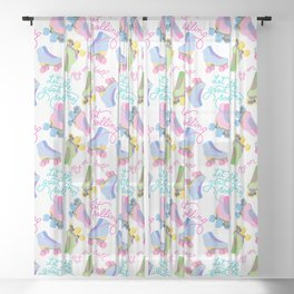 Roller Skates Pattern (White Background) Sheer Curtain