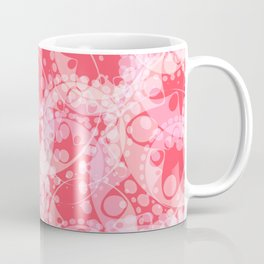 Spring pastels gently pink and strawberry circles and ellipses with the image of abstract flowers. Coffee Mug