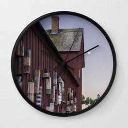 Motif #1 buoys and the full moon Wall Clock
