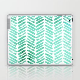 Handpainted Chevron pattern - light green and aqua - stripes Laptop & iPad Skin