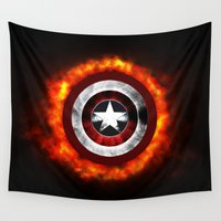 shield Wall Tapestries featuring Captain Shield by Kesen