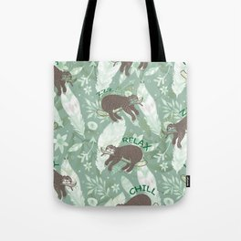 Lazy Boho Sloth On green Background Tote Bag