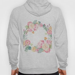 Spring Bouquet Wreath Floral Print Hoody