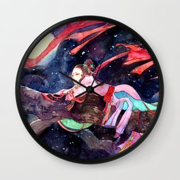 Watercolor Chinese Beauty in the moonlight Wall Clock