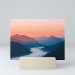Foggy river Soča at sunrise Mini Art Print