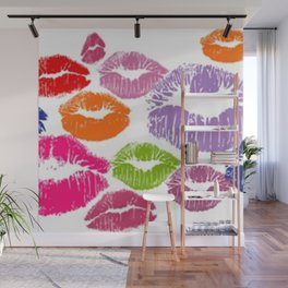 Colorful Lipstick Kisses Lip Color Wall Mural