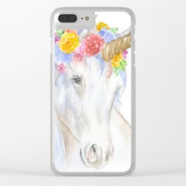 Unicorn Watercolor Painting Clear iPhone Case