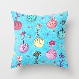 Flower Orbs Throw Pillow