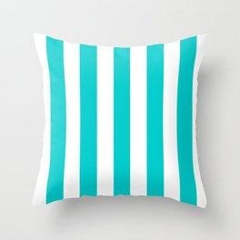 Robin egg blue - solid color - white vertical lines pattern Throw Pillow