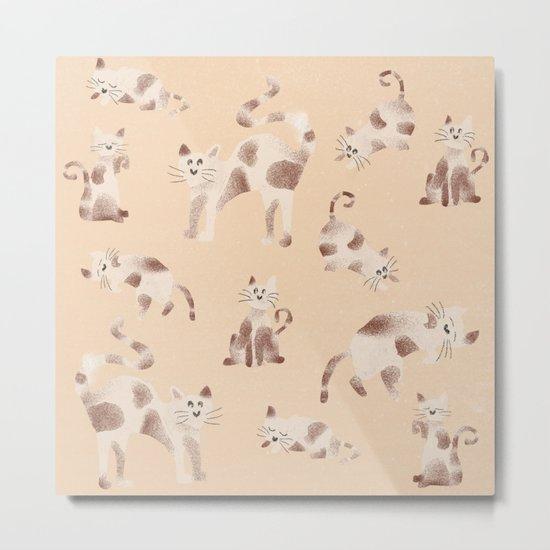 Playful Kitty Pattern Metal Print