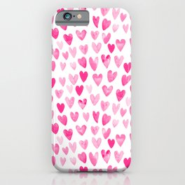 Hearts Pattern watercolor pink heart perfect essential valentines day gift idea for her iPhone Case