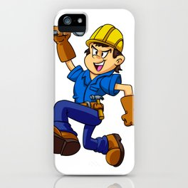 Running man with a wrench iPhone Case