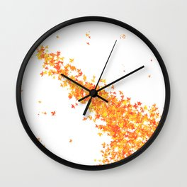 Maple Leaves on White Wall Clock