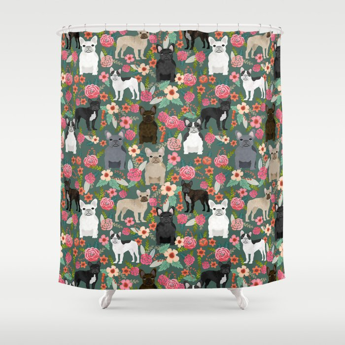 French Bulldog florals mixed coat colors dog breed pet must have gifts frenchies Shower Curtain