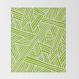 Abstract apple green & white Lines and Triangles Pattern-Mix and Match with Simplicity of Life Throw Blanket
