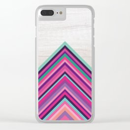 Wood and Bright Stripes, Chevron - Geometric Design Clear iPhone Case