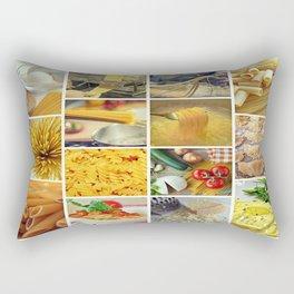 Collage Pasta food Rectangular Pillow