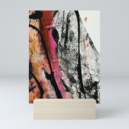 Motivation [2] : a colorful, vibrant abstract piece in pink red, gold, black and white Mini Art Print