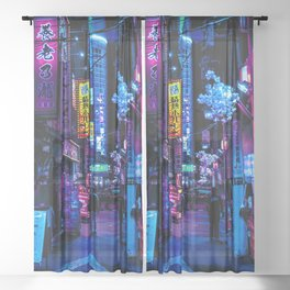 Tokyo's Moody Blue Vibes Sheer Curtain