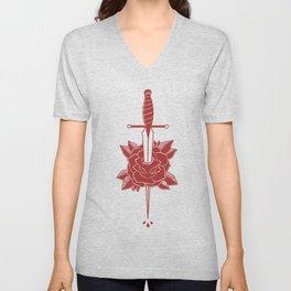 Dagger in Rose (Red) Unisex V-Neck
