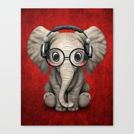 Cute Baby Elephant Dj Wearing Headphones and Glasses on Red Canvas Print