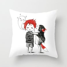 Boy and a Fox Throw Pillow