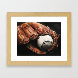 Baseball and Glove Framed Art Print
