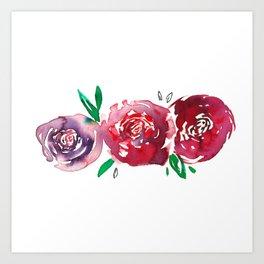 Three Red Christchurch Roses Art Print