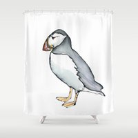 puffin Shower Curtains featuring puffin 3 by Beth Gilmore