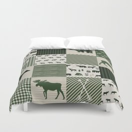 Camping hunter green plaid quilt cheater quilt baby nursery cute pattern bear moose cabin life Duvet Cover