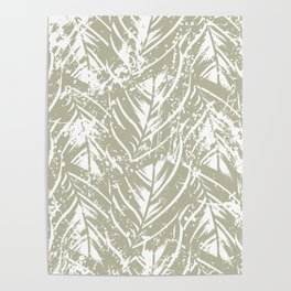 Jungle print with silhouette of paradise island foliage Poster