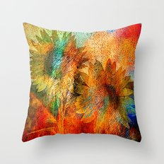 sunflower vintage Throw Pillow