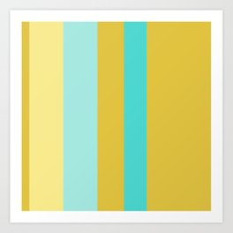 An occassional concoction of Macaroni And Cheese, Medium Turquoise, Pale Turquoise and Dark Cream vertical stripes. Art Print
