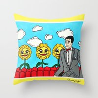 pee wee Throw Pillows featuring Pee Wee's Playhouse by Jaime Knight Art