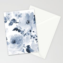Floral Kingdom Watercolor Navy Blue Painting Of Flowers Peony Stationery Cards