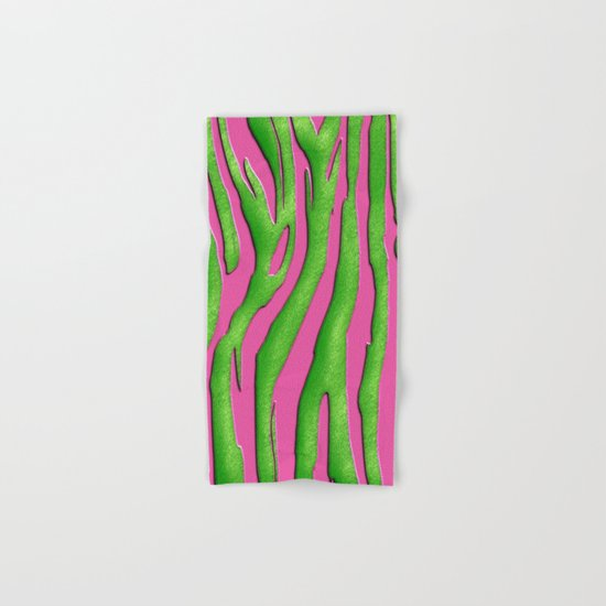 Bright Pink & Green Zebra Print Hand & Bath Towel