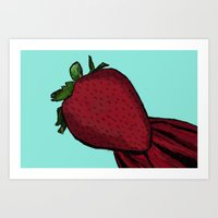 strawberry Art Prints featuring Strawberry  by The Bohemian Bubble