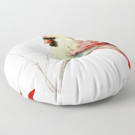 Northern Cardinal (female Cardinal bird) Floor Pillow