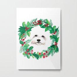 Bichon Frise Christmas Holiday Watercolor Card Metal Print