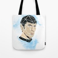 spock Tote Bags featuring Spock by Josh Ln