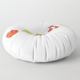 Fruits pixel art | Apple Pear Orange Cherry Peach | Version 2 Floor Pillow