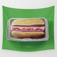 hot dog Wall Tapestries featuring Hot Digity Dog by Strange Food