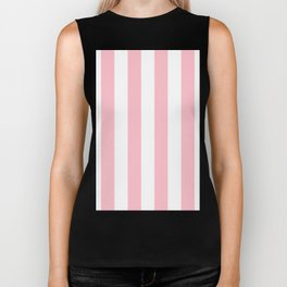 Vertical Stripes - White and Pink Biker Tank