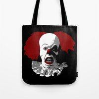 pennywise Tote Bags featuring IT by PsychoBudgie