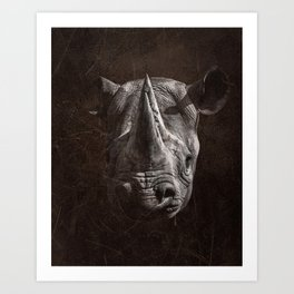 Black Rhino Head in Black and White Art Print