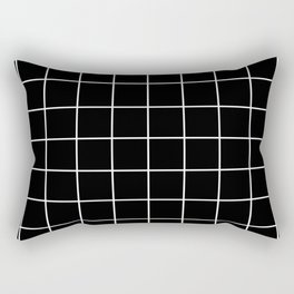 Black Grid  Rectangular Pillow