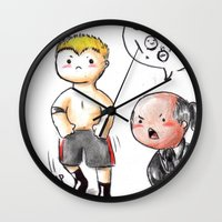 wwe Wall Clocks featuring WWE Chibi - Brock Lesnar and Paul Heyman by Furiarossa